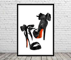 Louboutin shoes High Heels Black shoes Fashion Illustration