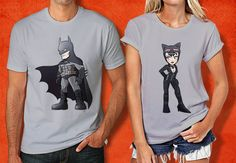 Batman and Catwomen Chibi Couple Tshirt  Batman Tshirt  by PHIROES