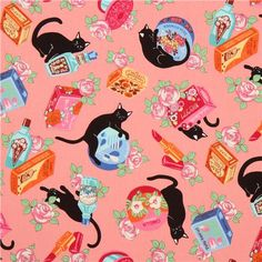 Animal Fabric by Cosmo Import from Japan  pink cotton fabric with black cats, colorful beauty products like lipstick, skin products etc., with flowers very high quality fabric, typical perfect Japanese quality radiant colours, many details and beautiful print  100% cotton smooth cotton printed sheeting fabric size of the longest cat: ca. 9.7cm (3.8) pattern repeat: ca. 30.2cm (11.9) fabric width: 110cm (43.3) fabric length (per unit ordered): 50cm (0.54 yards) weight: 165g per m²  care…