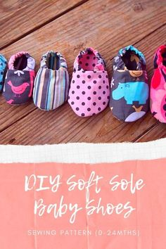 DIY Soft Sole Baby Shoes sewing pattern (0-24mths). If you want to make some cute baby shoes then we have the perfect sewing pattern for you. What baby wouldn't look fantastic in a pair of these shoes? The adjustable elastic helps keep these shoes on your baby's feet. This is a quick and easy sew. Boys Sewing Patterns, Sewing For Kids, Baby Sewing, Cute Baby Shoes, Modern Kids, Baby Feet, Baby Newborn, Baby Baby, Baby Accessories