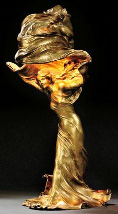 Raoul Larche (French, Art Nouveau Loie Fuller figural lamp, bronze, France, c. Fabric Photography, Art Nouveau Furniture, Academic Art, Art Nouveau Architecture, Art Nouveau Design, Loie Fuller, Art Nouveau Jewelry, Metal Artwork, Art For Art Sake