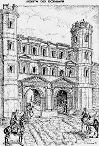 Verona antica, Porta Jovia con le torrette romane,  ora denominata Porta Borsari, delle torrette sono rimaste le fondamenta sotto il piano stradale, viste durante gli scavi del 1999 ....