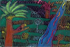 Drawing - Crayon Engraving with Oil Pastel