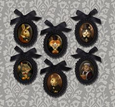 Black Beaded Portrait Brooches  Victorian  by CuriousPortraits