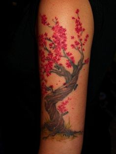 Cherry blossom tree tattoo with significant life dates