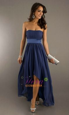 Fabric:Chiffon Embellishment: Band Neckline: Scoop  Closure: Zipper Length: Hi-low Fully Lined: Yes  Built-In Bra: Yes Shown Color: Blue Processing Time: 20-28 business days $108.00