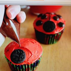Cute and easy ladybug cupcakes