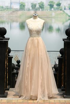 Image of Champagne Tulle illusion Beaded Evening Gown Beaded Prom Dress 9c6a0246ed35