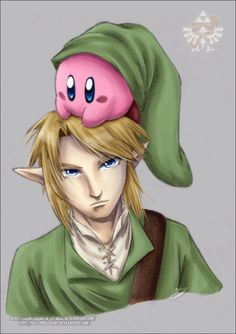 Link and Kirby Colour by Lady-Zelda-of-Hyrule Link is not amused.