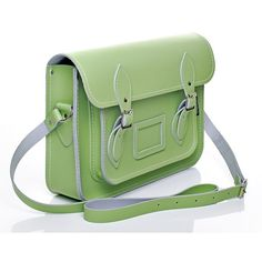 Pastel Grass Green Leather Satchel Satchels ($168) ❤ liked on Polyvore featuring bags, handbags, leather satchel handbags, leather satchel, green leather purse, green satchel handbag and green satchel