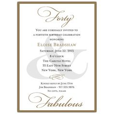 Classic 40th Birthday Gold Party Invitations