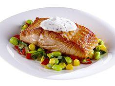 Pan-Seared Salmon with Summer Succotash Recipe : Giada De Laurentiis : Food Network Giada Recipes, Fish Recipes, Seafood Recipes, Cooking Recipes, Healthy Recipes, Beans Recipes, Ww Recipes, Healthy Food, Giada De Laurentiis