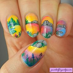 Painted Fingertips | Landscape nail art for the #31DC2016