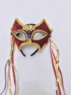 Red & Burgundy Velvet Masquerade Mask With Rhinestones - Velvet Covered And Beaded Venetian Style Mardi Gras Mask,Venetian mask