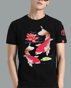 9a05ee4f024 Embroidered koi fish t shirt for men chinese style carp fish lotus flower  tee