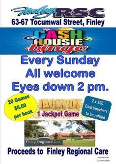 Cash Bingo - Finley Regional Care Aged Care, Anzac Day, Bingo, Regional