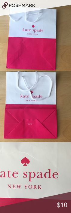 "Kate Spade Paper Shopping Bag Kate Spade New York Paper Shopping Bag, small 8"" by 10"", has a couple of wrinkles, as shown picture 3 and 4 kate spade Bags"