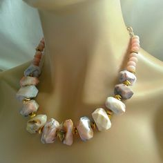 Love Pink Opal?  I paired this new design with nuggets of gold pyrite to create an earthy statement necklace.