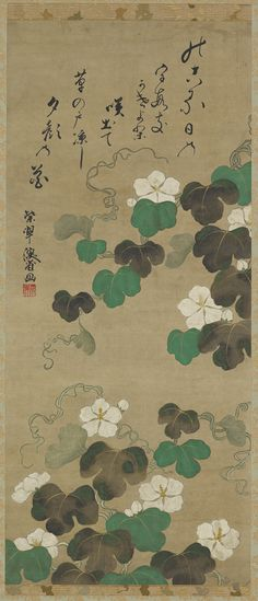 Yugao vines and a poem. Japanese Hanging scroll. Edo period, 18th-19th century. The Freer Gallery of Art