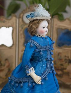 "12"" (30 cm) Early Antique French Fashion Bisque Doll with Cobalt Blue Enamel Eyes by Barrois, c.1865"
