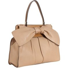 Valentino Camel Pleated Leather Bow Detail Shoulder Bag
