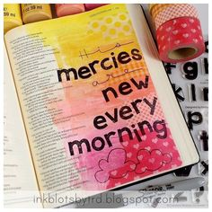 """Tifany's gorgeous Bible journaling page is reminiscent of a beautiful sunrise. Head over to the Creative Worship Blog and read all about her early morning inspiration in """"Mercies & Mustard!"""" LOVE THIS! Judy http://ift.tt/1svOIGx #sweetnsassystamps #cwsnsscreativeteam #blessing #mercy #sunrise #bibleart #istampinmybible #biblejournalingcommunity #biblejournaling #journalingbiblecommunity #journalingbible #clearstamps http://ift.tt/1KAavV3"""