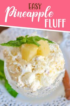 Pineapple Fluff is a no-bake dessert recipe with COOL WHIP, pineapple, marshmallows, instant pudding, pecans and coconut. So good and so easy! Fluff Desserts, Cool Whip Desserts, Jello Desserts, Jello Recipes, No Bake Desserts, Easy Desserts, Coolwhip Recipes, Shrimp Recipes, Instant Pudding