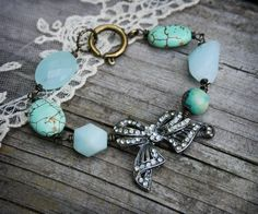 Vintage Bow Bracelet with Turquoise and Amazonite by labellesavage, $60.00