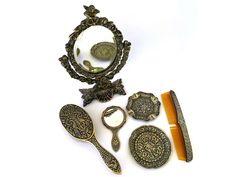 Vanity Decor, Vanity Set, Antique Vanity, Dressing Table Mirror, Standing Mirror, Cherub, Makers Mark, Art Nouveau, Vintage Items