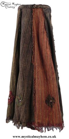 Long Multicoloured Hippy Cotton Vertical Patchwork Wrap Skirt with Mirrors and Embroidery Detail