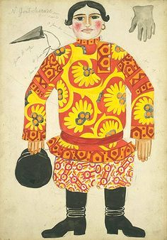 Costume design by Natalia Gontcharova for Le coq d'or, 1914