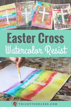 Easter Cross Watercolor Resist Painting Activity. So fun for kids to watch as the cross magically appears! Makes a great Easter gift for family. trickytoddlers.com