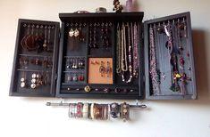 Jewelry cabinet. earrings holder with shelf. Armoire. BLACK