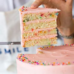 Rainbow Sprinkle Cake | This positively adorable cake would make any celebration special, from a kid's birthday party to Mother's Day brunch.