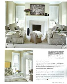 luxe interiors + design Fall 2014 Designer Tom Stringer #634420 Chicago, IL. Pg. 199  Pindler Chair Fabric: 3688 Beckman, Color Ash  www.pindler.com