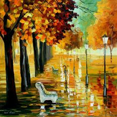 """""""Autumn's kiss"""" by Leonid Afremov ___________________________ Click on the image to buy this painting ___________________________ #art #painting #afremov #wallart #walldecor #fineart #beautiful #homedecor #design"""