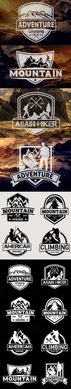 Mountain Hiking Badges Vol 22 - Badges & Stickers Web Elements