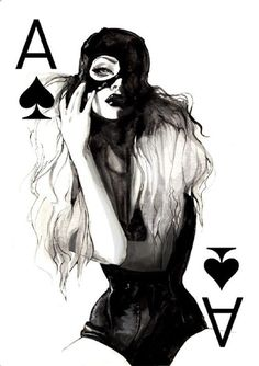 Fashion Illustration Fashion Playing Cards by Connie Lim — Lost At E Minor: For creative people - My Fashion Playing Cards Series is a body of work focusing on fashion illustration. Using pen and ink, gouache, and micron pens, I created these women who Illusion Kunst, Art Carte, Ace Of Spades, Illustration Mode, Illustration Fashion, Fashion Illustrations, Arte Pop, Fashion Sketches, Dark Art