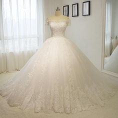 Luxury long train puffy ball gown lace wedding
