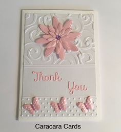 Handmade thank you card using sizzix embossing folder, Sarah Davies Grand floral dies and Nellie Snellen small butterfly punch and emboss set.
