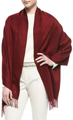 $1,095, Burgundy Scarf: Loro Piana Opera Cashmere Stole Bourgo Burgundy. Sold by Neiman Marcus. Click for more info: http://lookastic.com/women/shop_items/55515/redirect