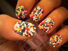uh sprinkle nails i think yes! its simple and easy paint your nails with a clear coat and while they are still wet you have to be fast dip them in a bowl of spinkles and bam you have sprinkle nails! Cute Nails, Pretty Nails, Funky Nails, Hair And Nails, My Nails, Sprinkle Nails, Nailart, Candy Sprinkles, Rainbow Sprinkles