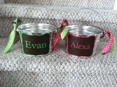 Custom made easter basket metal pail monogram personalized with personalized easter basket for boy or girl or easter basket new baby gift negle Gallery