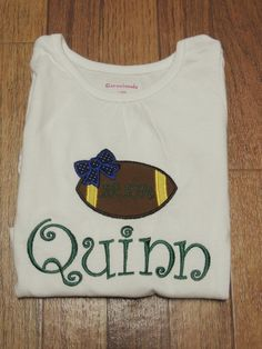Embroidered Girl's Football Shirt by KatiesEmbroideryShop on Etsy
