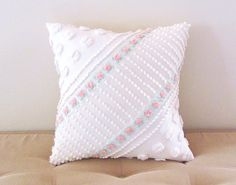pink pillow cover ROSEBUDS AND PEARLS 14 X by moreChenilleChateau, $65.00