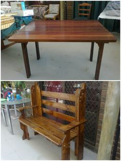 Bench and Table One coat of Cedar stain two coats of Clear-Gloss -Varnish.…