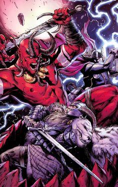 Odin and Thor vs Surtur
