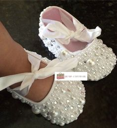 Handmade Pearl & Rhinestones Baby Shoes