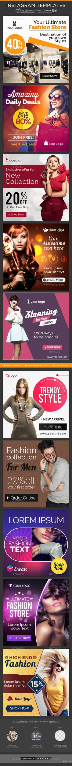 Fashion Instagram Banners - 10 Designs - Banners & Ads Web Template PSD. Download here: http://graphicriver.net/item/fashion-instagram-banners-10-designs/11007220?s_rank=1767&ref=yinkira