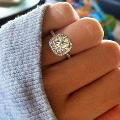 Dream Engagement ring #perfection Cushion Cut Halo with a Thin Band with Diamonds on the Band :) Literally EXACTLY what I what!